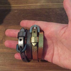 Gap Metallic Leather Wrap Bracelets